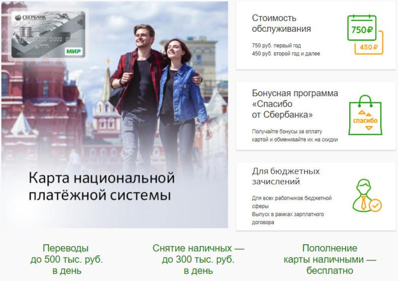 Зарплатная карта МИР Сбербанк, обслуживание