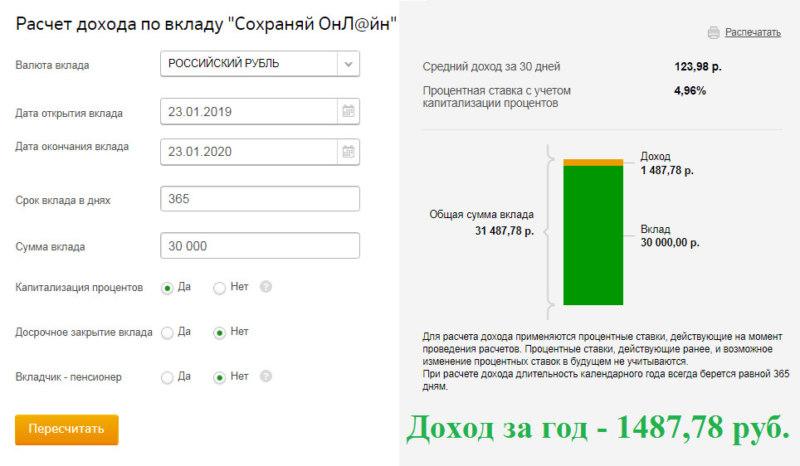Расчет процентов по вкладу Сохраняй Сбербанка для физических лиц