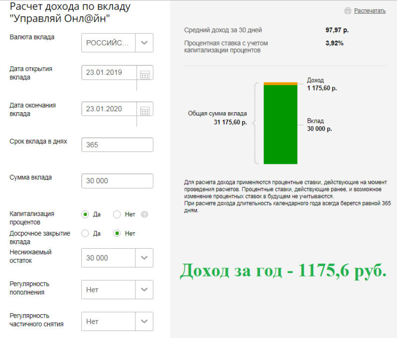 Расчет процентов по вкладу Управляй Сбербанка для физических лиц