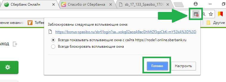 Обратите внимание, некоторые браузеры блокируют всплывающее окно Сбербанк Спасибо при попытке зайти в программу через личный кабинет