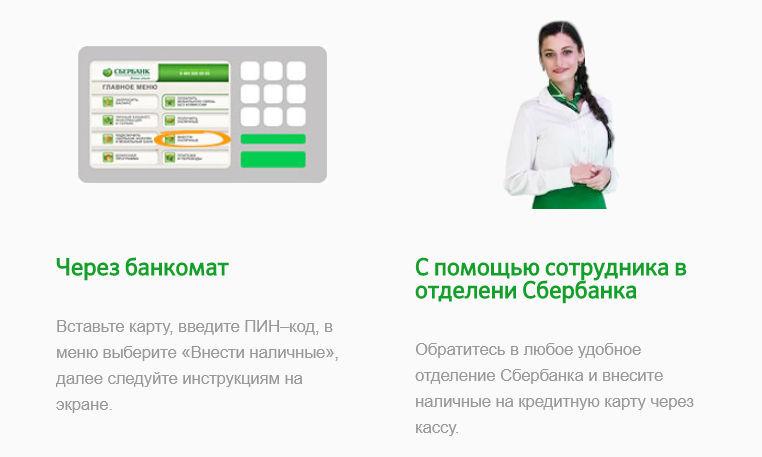 Внесите необходимую вам сумму наличными, для погашения минимального ежемесячного платежа, через банкомат или с помощью специалиста Сбербанка