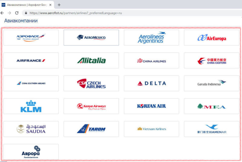 Партнеры участники Аэрофлот Бонус