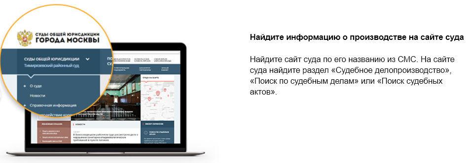 Получите информацию об указанном в СМС исполнительном производстве на сайте суда