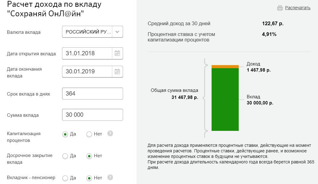 Доходность Сохраняй Онлайн через год, рассчитанная на специальном калькуляторе Сбербанка