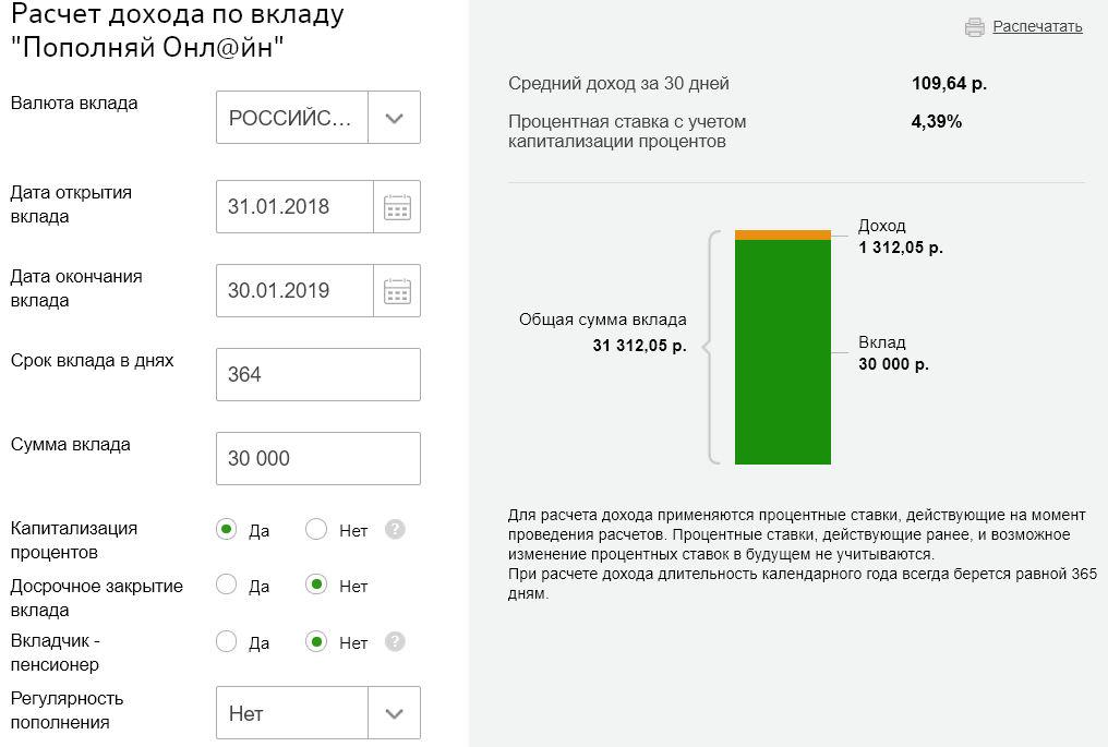 Прибыль, которую вы получите через год при данный условиях, положив деньги под проценты на вклад Пополняй Онлайн