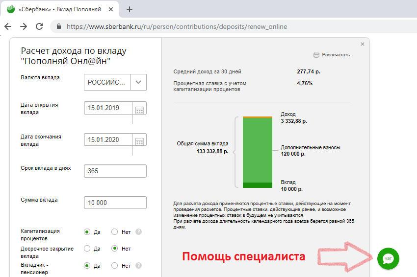 Расчет прибыли на калькуляторе вкладов Сбербанка
