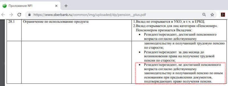 Вклад Пенсионный Плюс в Сбербанке условия