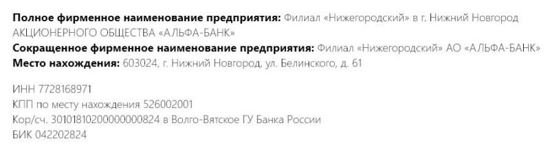 реквизиты пао сбербанк россии нижний новгород официальный сайт кредит наличными в рнкб в севастополе