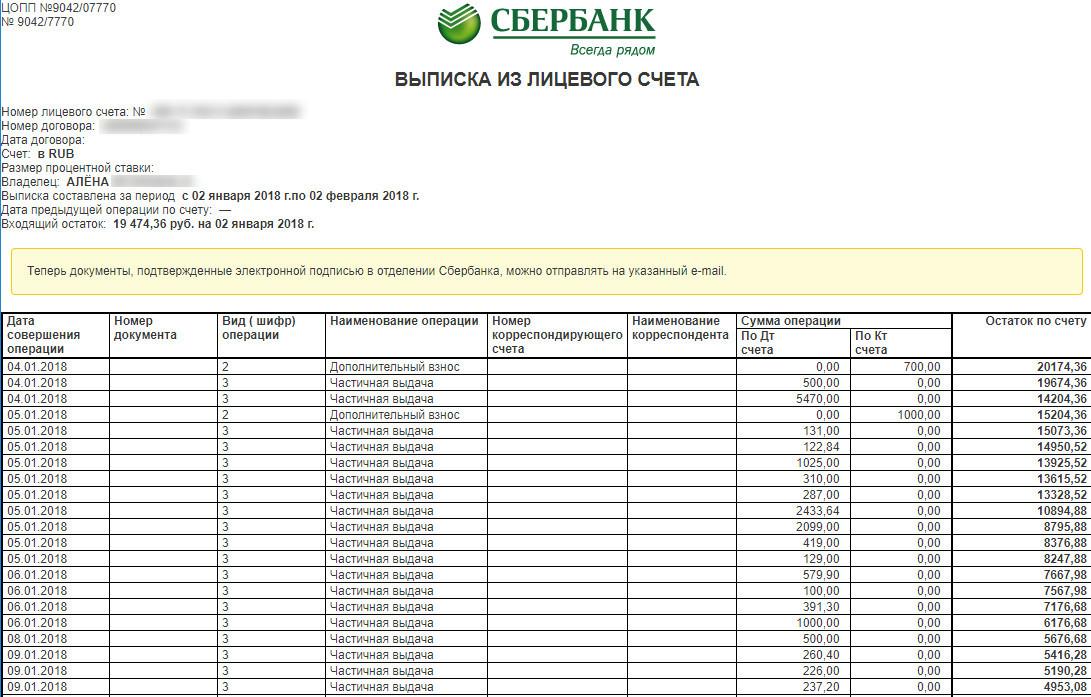 Изображение - Как посмотреть поступления на карту сбербанка онлайн vypiska-iz-litsevogo-scheta-sberbank