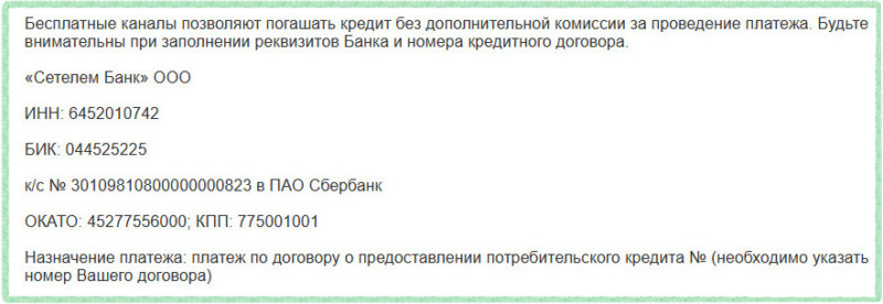Реквизиты Сетелем Банка