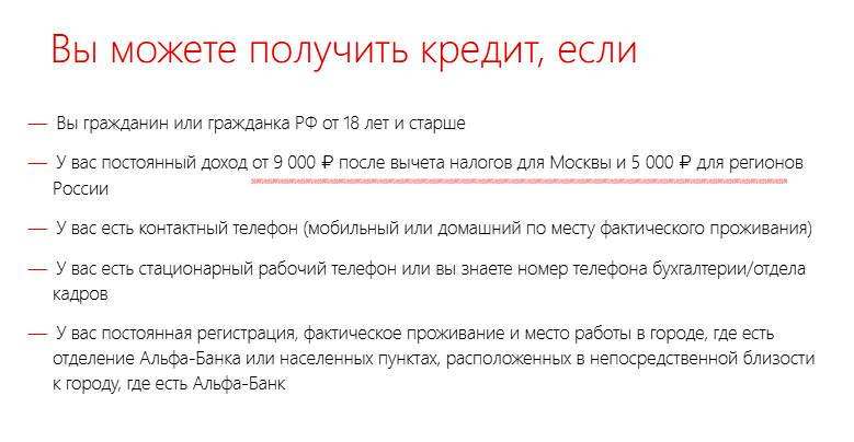 Требования к заемщику при получении кредитной карты Альфа-Банка
