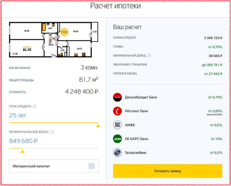 Калькулятор по ипотеке Тинькофф поможет оценить свои финансовые возможности