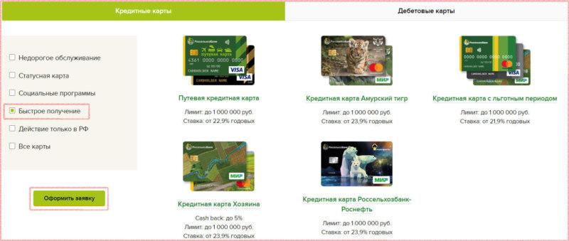"""На сайте Россельхозбанка в разделе """"Кредитные карты"""", пометьте, что желаете получить пластик быстро, ознакомьтесь с условиями пользования и приступайте к онлайн заявке"""