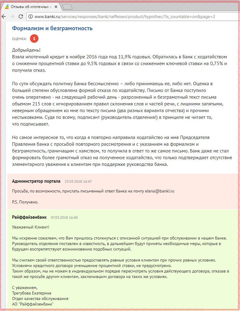 Отзыв о рефинансировании в Райффайзенбанке собственной ипотеки