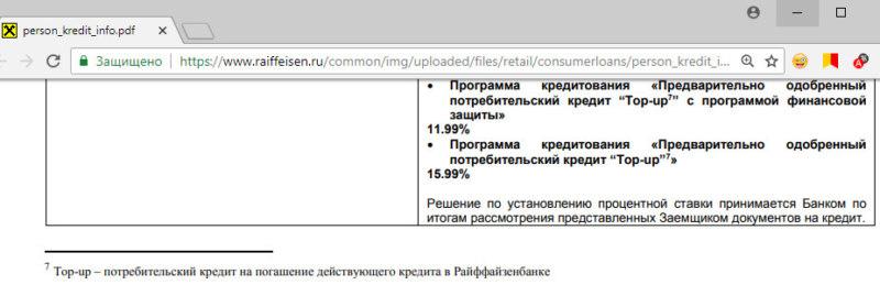 Условия по рефинансированию персонального кредита Райффайзенбанка в рамках индивидуального предложения