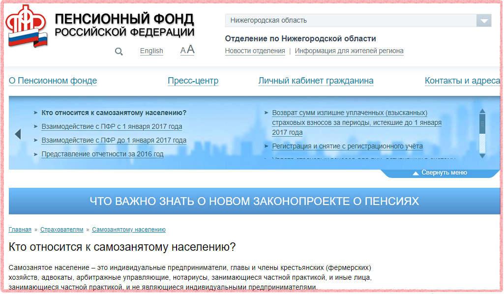 Кого считает самозанятыми Пенсионный фонд России