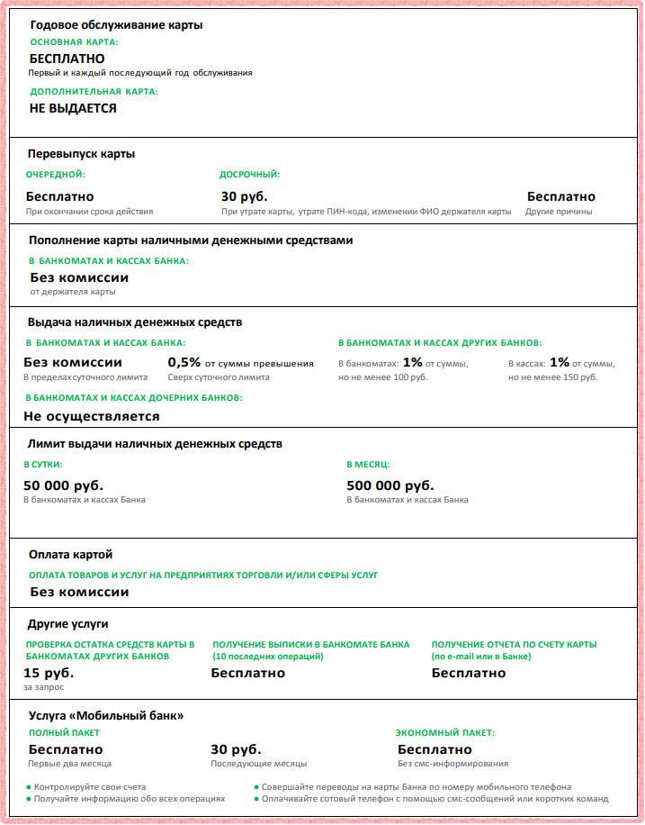 Ознакомьтесь с тарифами дебетовой социальной карты Сбербанка