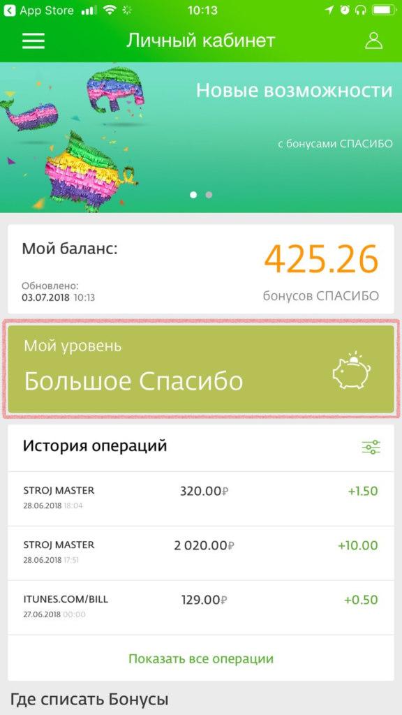 Информация о переходе на новый уровень привилегий отразится в личном кабинете Спасибо от Сбербанка и в мобильном приложении