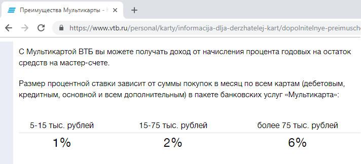 Процент на остаток по Мультикарте