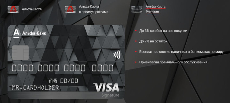 Внешний вид карты Альфа банка с преимуществами